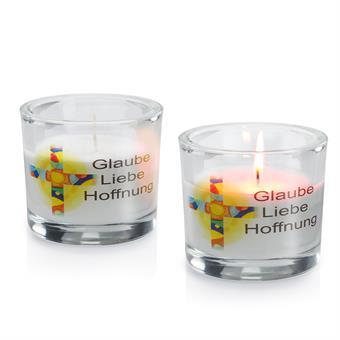 """Glas-Windlicht, """"Glaube-Liebe-Hoffnung"""""""