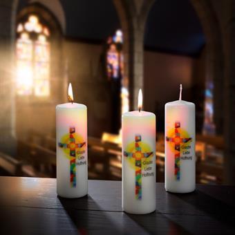 "Bild-Kerze ""Glaube-Liebe-Hoffnung"""