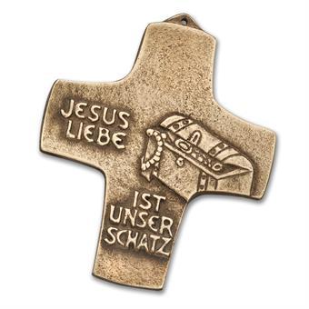 """Bronzekreuz """"Jesus Liebe ist unser Schatz"""""""