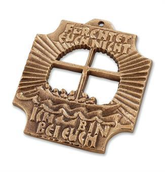 """Bronzekreuz """"Fürchtet euch nicht"""" , 7,5 x 7 cm"""