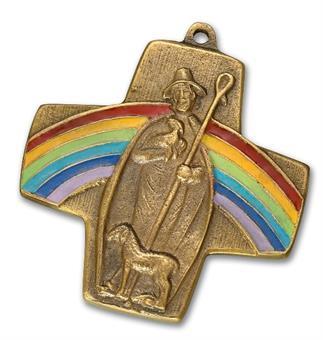 """Bronzekreuz """"Regenbogen, guter Hirte"""""""