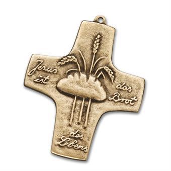 """Bronzekreuz """"Jesus ist das Brot des Lebens"""""""