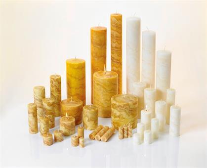 Bienenwachskerze Marmoriert elfenbein | 600 mm | 100 mm