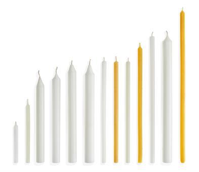 Opferkerzen 250/ 12 mm, weiß, gezogen, ohne Dornloch
